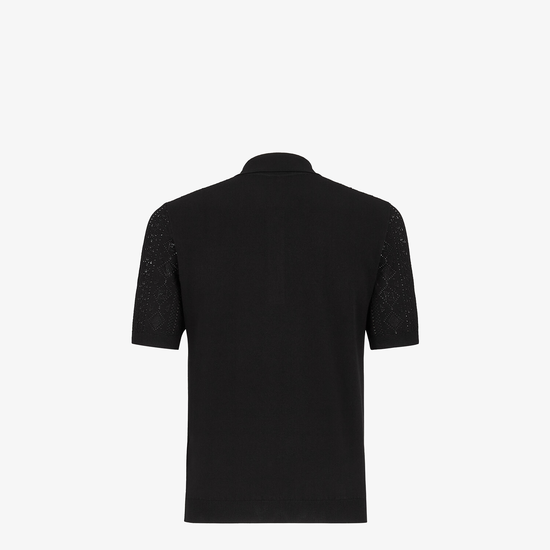 FENDI POLO SHIRT - Black viscose polo shirt - view 2 detail
