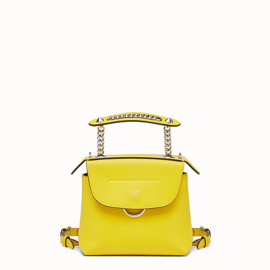 FENDI MINI BACK TO SCHOOL BACKPACK - Mini backpack in yellow leather - view 1 detail