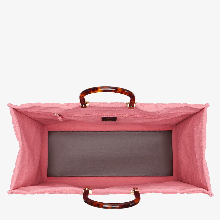 FENDI FENDI SUNSHINE XL - Pink terrycloth shopper - view 5 detail