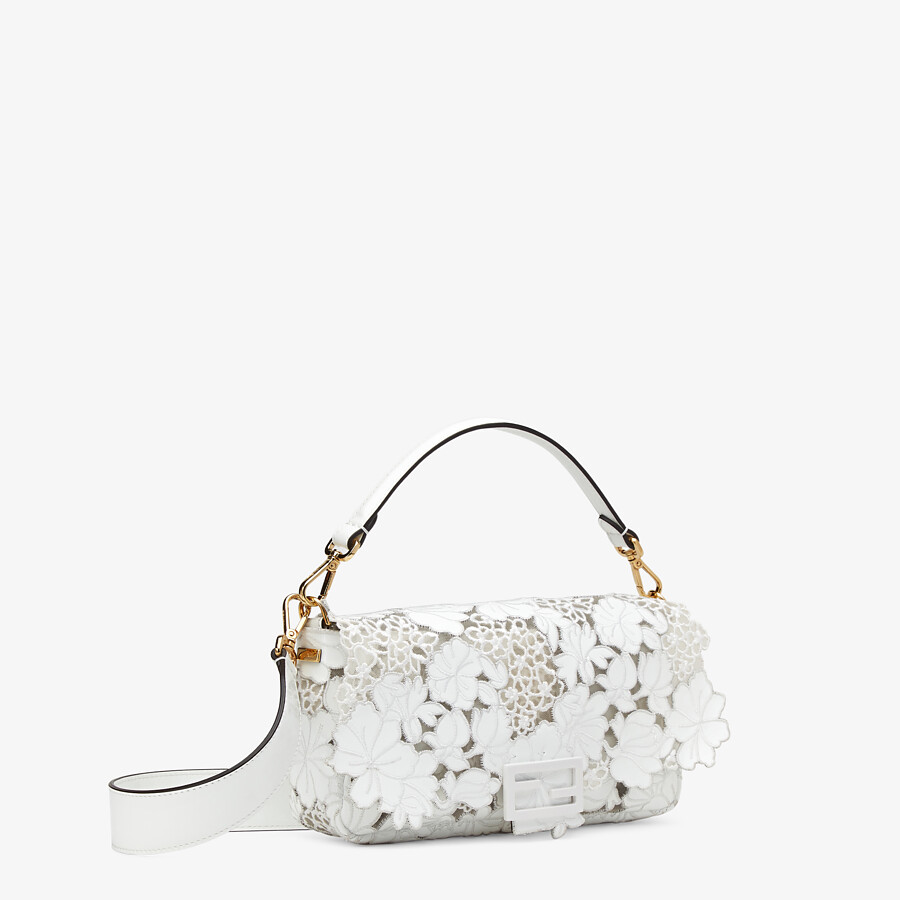 FENDI BAGUETTE - Embroidered white patent leather bag - view 3 detail