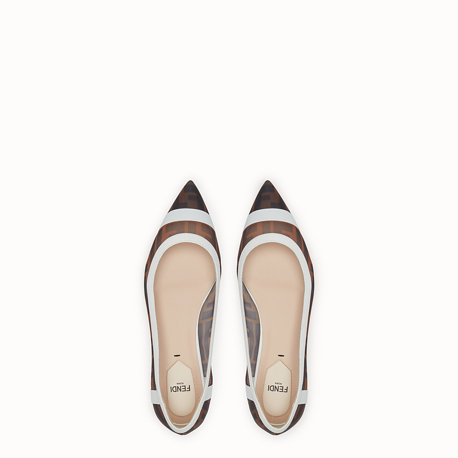 FENDI BALLERINAS - Mesh and white leather flats - view 4 detail