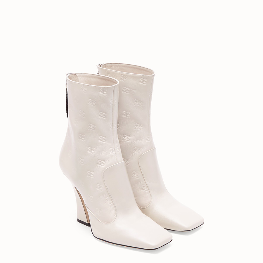 FENDI BOOTS - White leather booties - view 4 detail