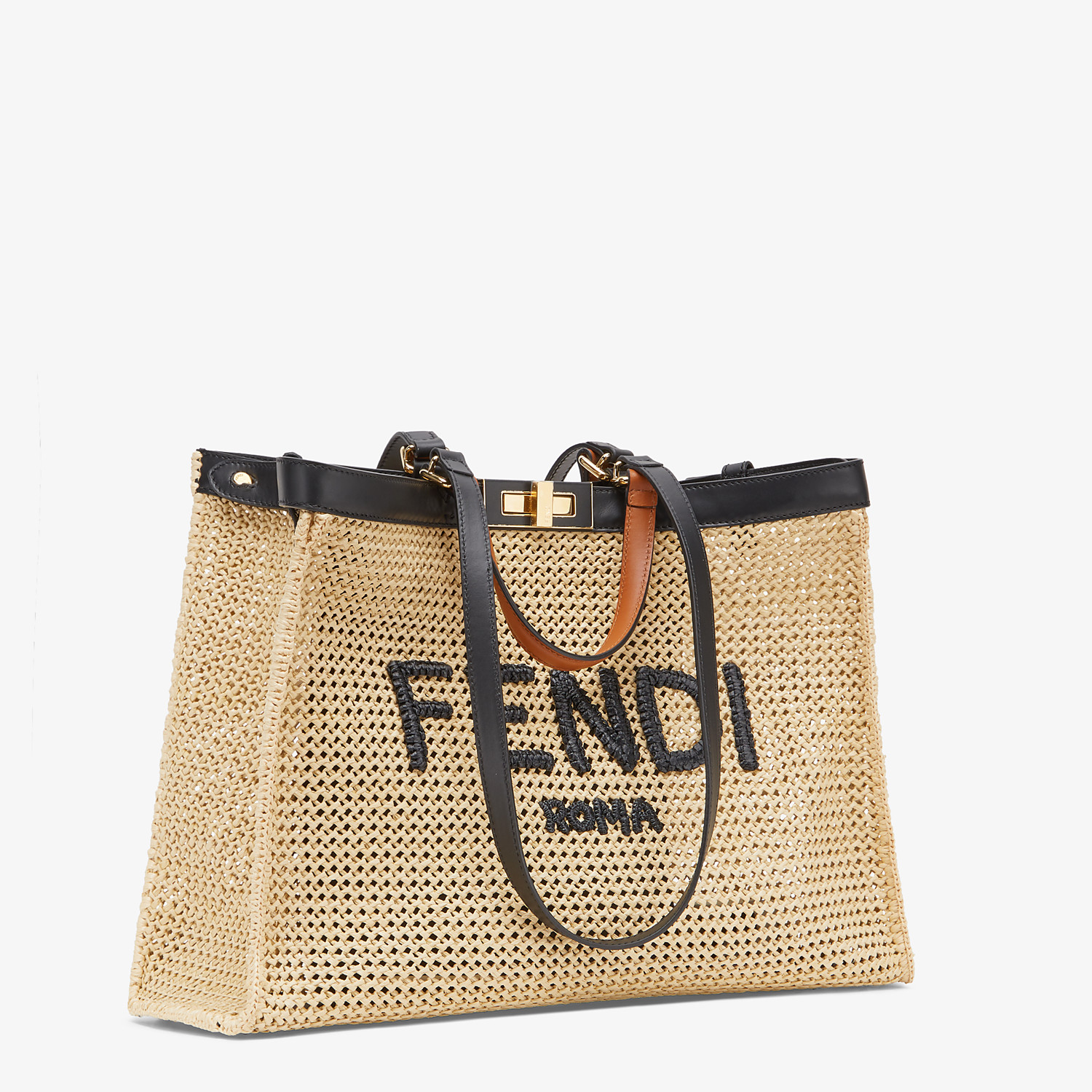 FENDI PEEKABOO X-TOTE - Natural raffia bag - view 2 detail