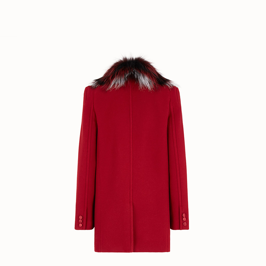 FENDI COAT - Red wool pea coat - view 2 detail