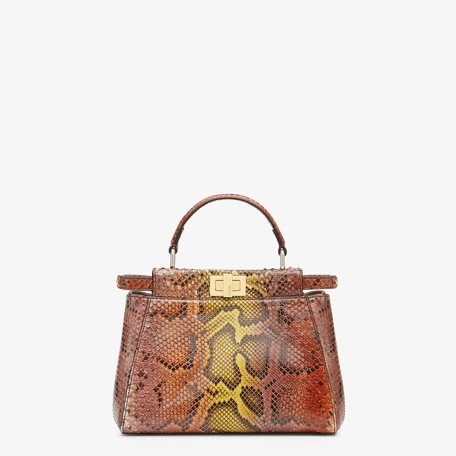 FENDI PEEKABOO ICONIC MINI - Borsa in pitone marrone - vista 1 dettaglio