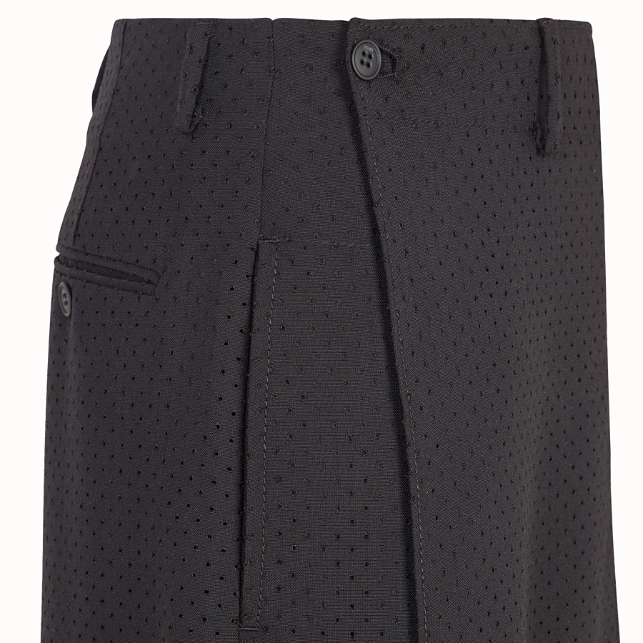 FENDI TROUSERS - Black wool bermudas - view 3 detail