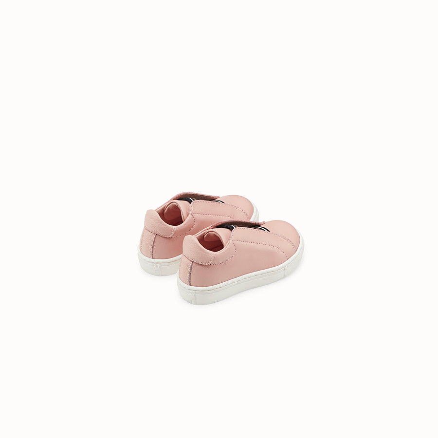 FENDI SNEAKERS - Pink leather first steps sneakers - view 3 detail