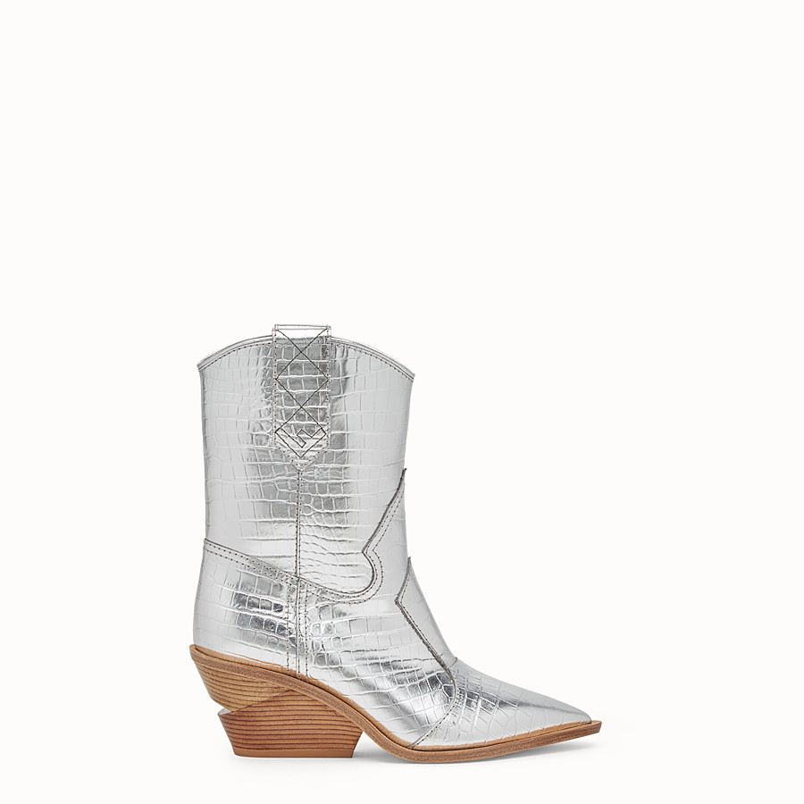 FENDI BOOTS - Silver leather ankle boots - view 1 detail