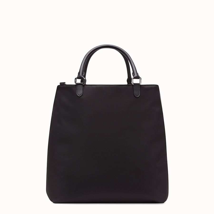 FENDI TOTE BAG - Shopper in nylon and black leather - view 3 detail