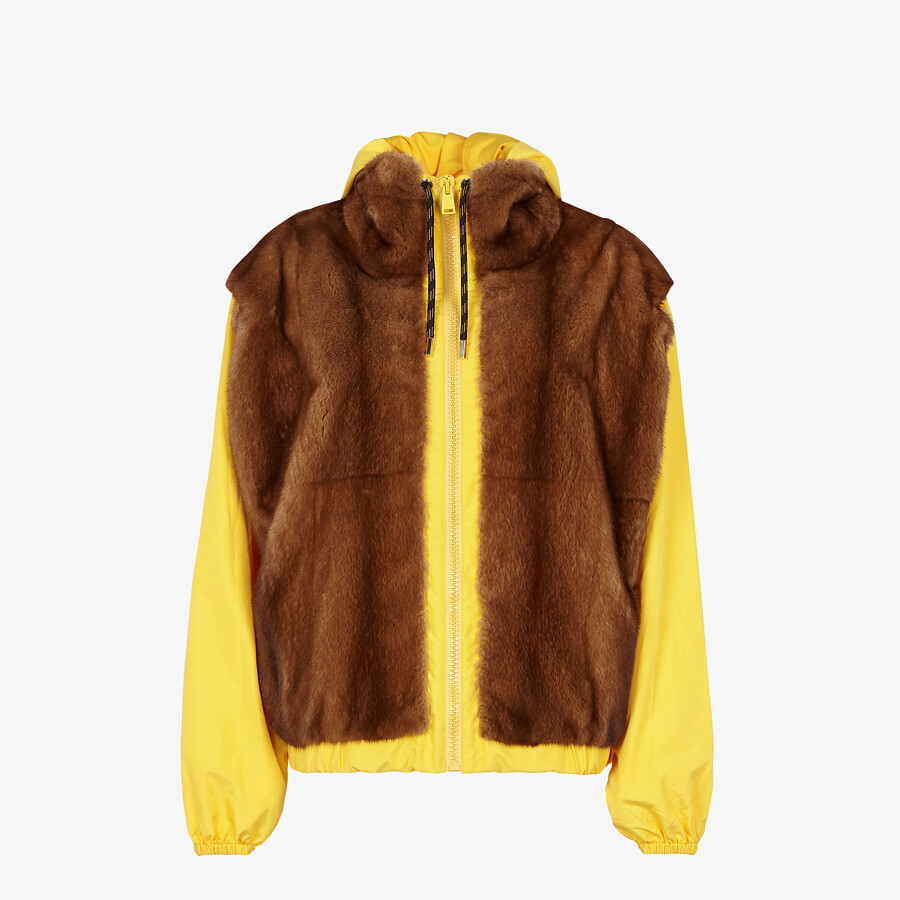 FENDI VEST - Mink and yellow nylon gilet - view 5 detail