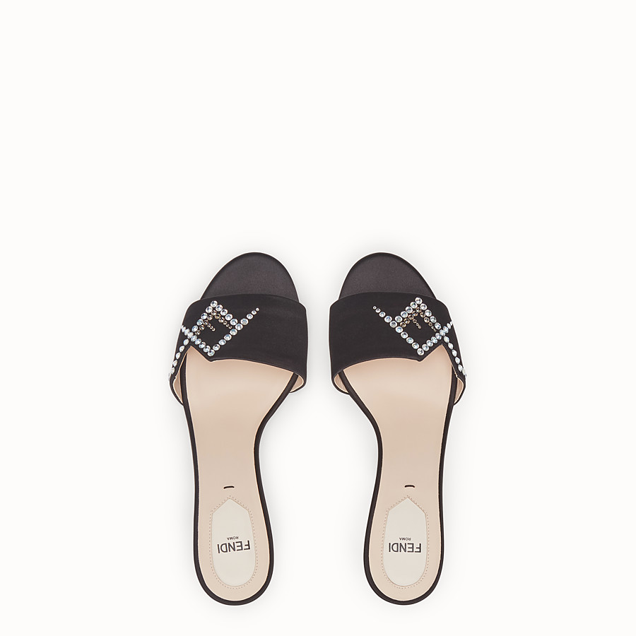 FENDI SLIDES - Black satin slides - view 4 detail