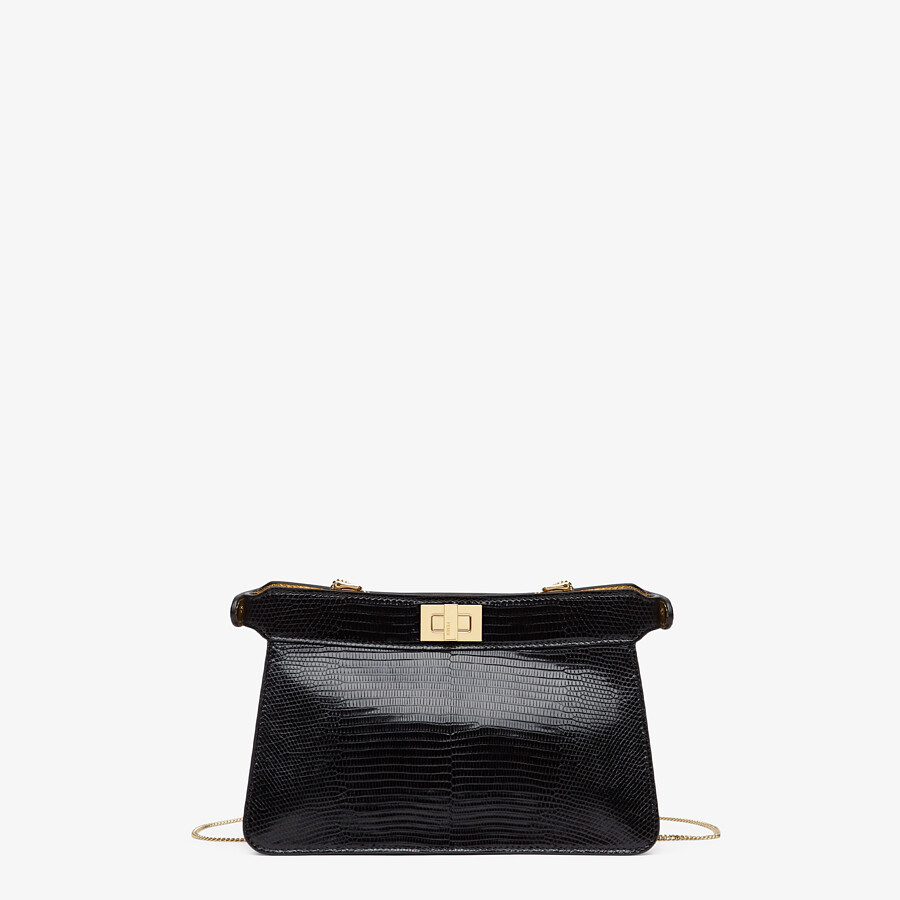 FENDI PEEKABOO ISEEU POCHETTE - Black lizard leather bag - view 4 detail