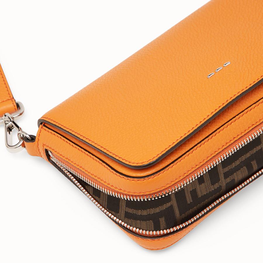 FENDI FLAP BAG - Borsa in pelle arancione - vista 6 dettaglio