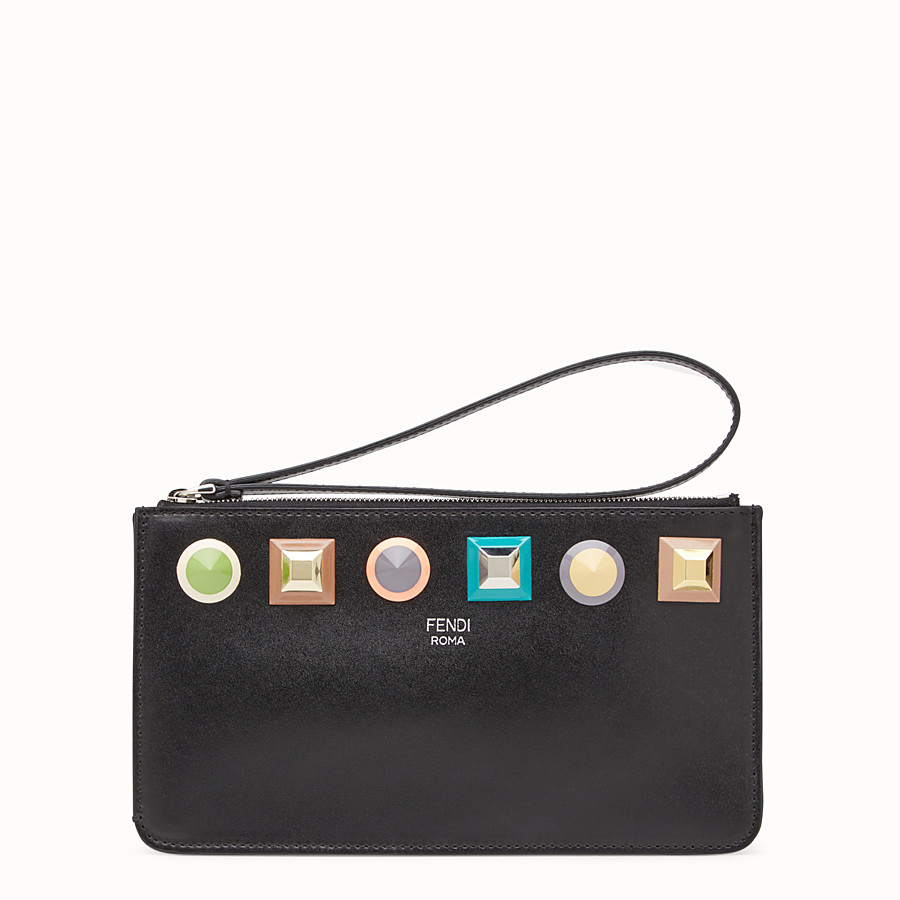 FENDI FLAT CLUTCH - Pouch in black leather with studs - view 1 detail