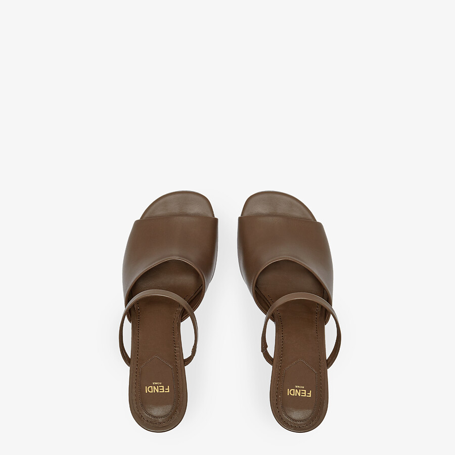 FENDI FENDI FIRST - Brown leather high-heeled sandals - view 4 detail