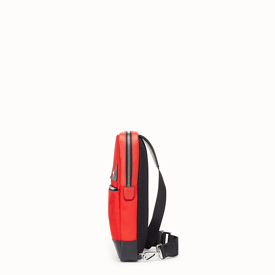 FENDI BELT BAG - Red fabric and leather one-shoulder backpack - view 2 detail