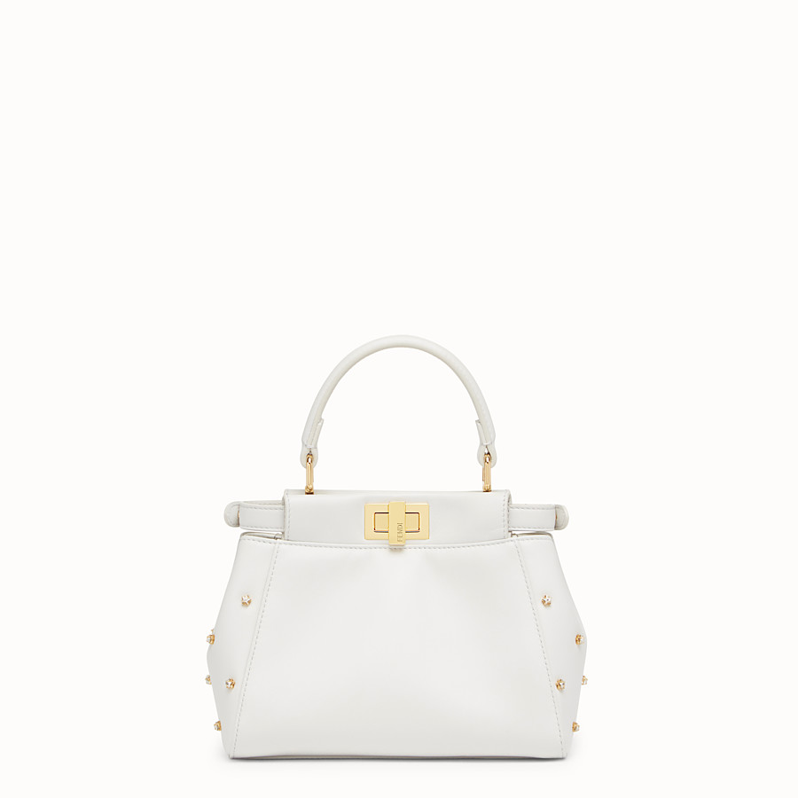 FENDI PEEKABOO XS - White leather mini-bag - view 3 detail