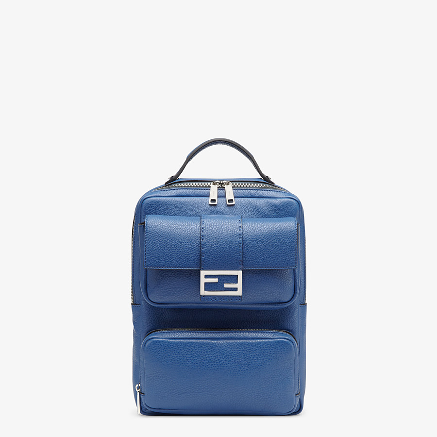 FENDI BACKPACK - Blue leather backpack - view 1 detail