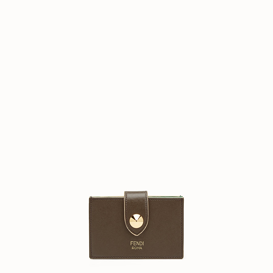 FENDI CARD HOLDER - Business card case in brown leather - view 1 detail