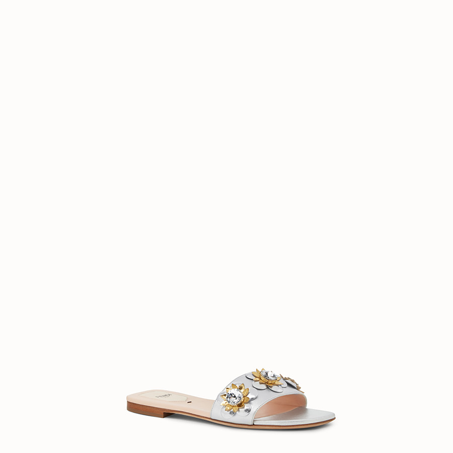 FENDI FLAT SANDALS - in silver leather and flowers - view 2 detail