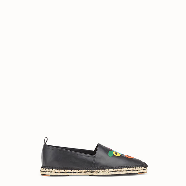 FENDI ESPADRILLES - Black leather espadrilles - view 1 small thumbnail