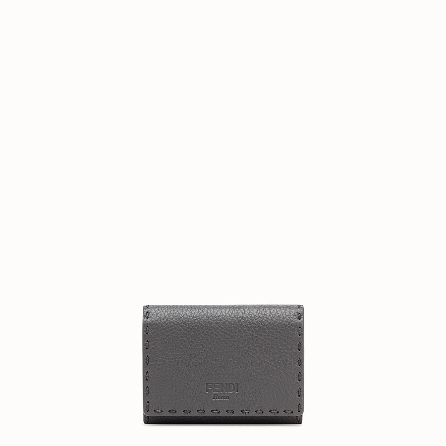 FENDI CARD HOLDER - Grey leather business card holder - view 1 detail