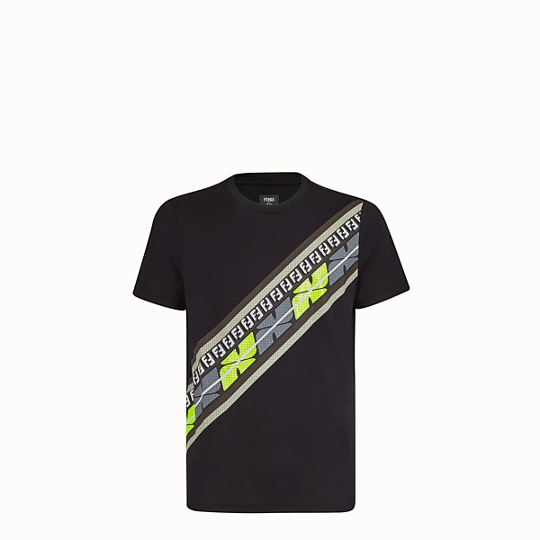 FENDI T-SHIRT - Black cotton jersey T-shirt - view 1 small thumbnail