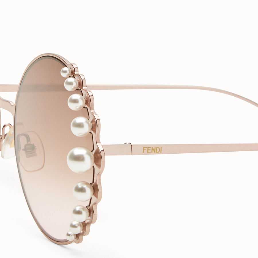 FENDI RIBBONS AND PEARLS - Metallic pink sunglasses - view 3 detail