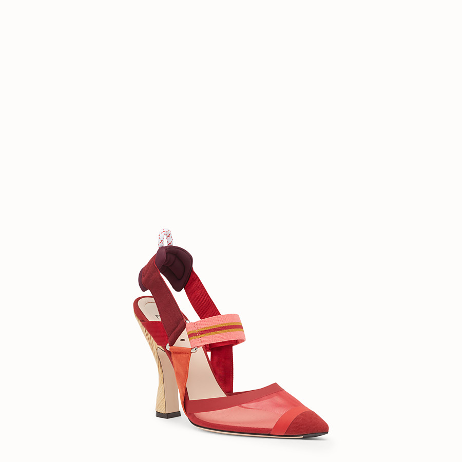 FENDI SLINGBACKS - Multicolour technical mesh slingbacks - view 2 detail