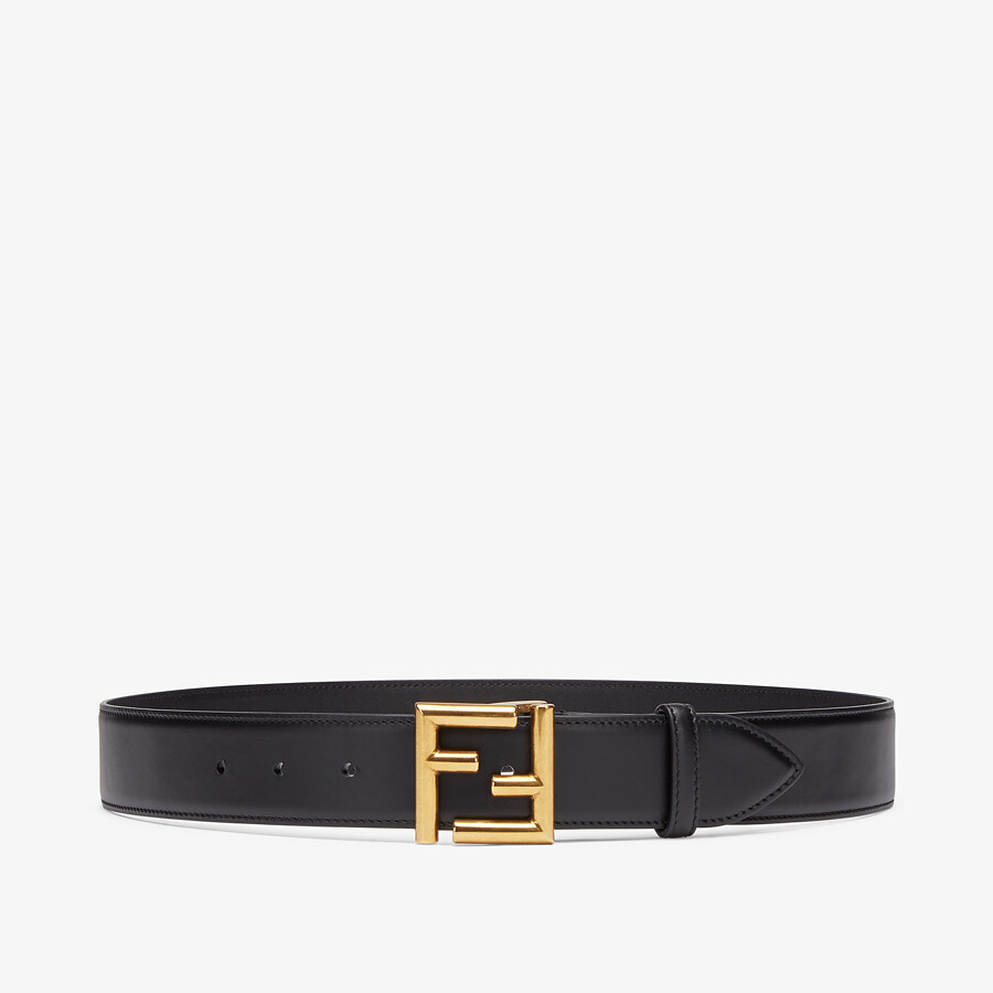 FENDI BELT - Black leather belt - view 1 detail