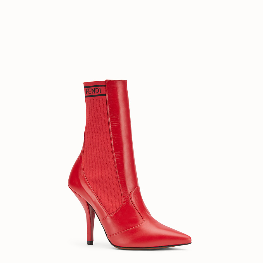 FENDI BOOTS - Bootie in red leather - view 2 detail