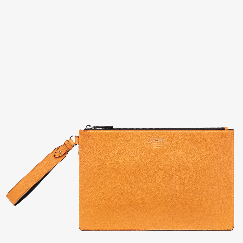 FENDI POUCH - Orange leather pochette - view 1 detail