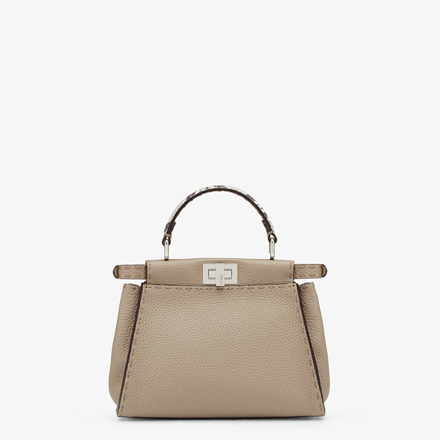 FENDI PEEKABOO ICONIC MINI - Dove-gray Selleria handbag - view 4 detail