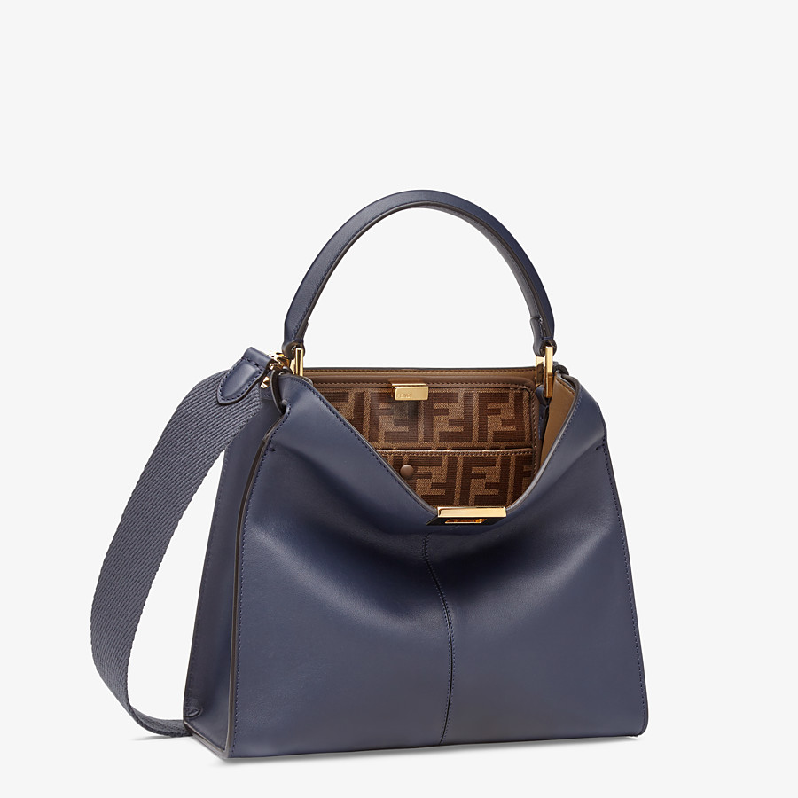 FENDI PEEKABOO X-LITE MEDIUM - Tasche aus Leder in Blau - view 3 detail