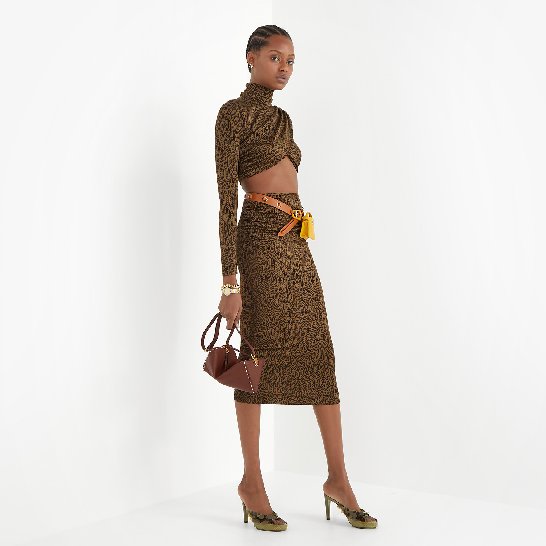 FENDI SKIRT - Brown organzine skirt - view 4 detail