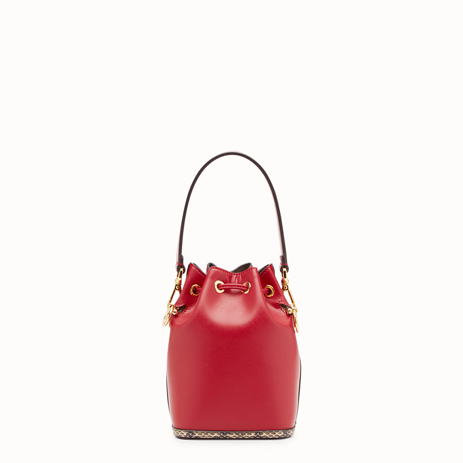 FENDI MON TRESOR - Red leather mini-bag with exotic details - view 3 detail