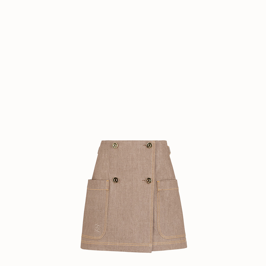 FENDI SKIRT - Beige denim skirt - view 1 detail