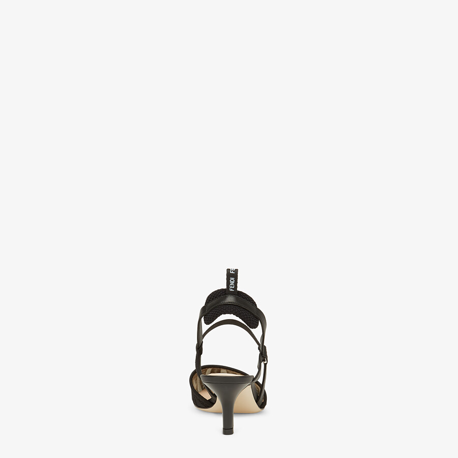 FENDI COLIBRI LITE SLINGBACKS - Black micro-mesh slingbacks - view 3 detail