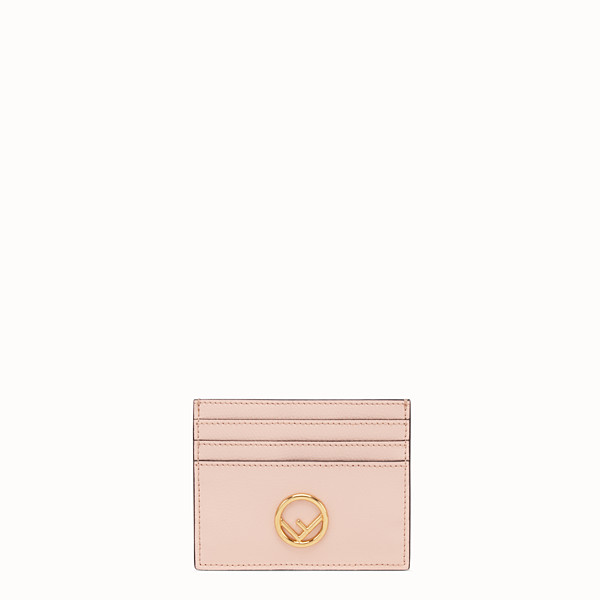 FENDI CARD HOLDER - Pink flat leather card holder - view 1 small thumbnail