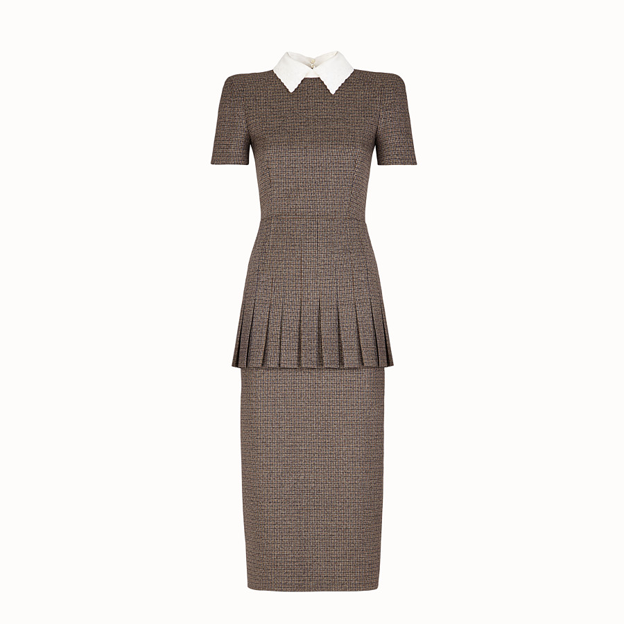 FENDI DRESS - Micro-check wool dress - view 1 detail