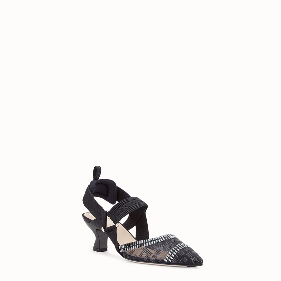 FENDI SLINGBACK - Colibrì in mesh and black leather - view 2 detail