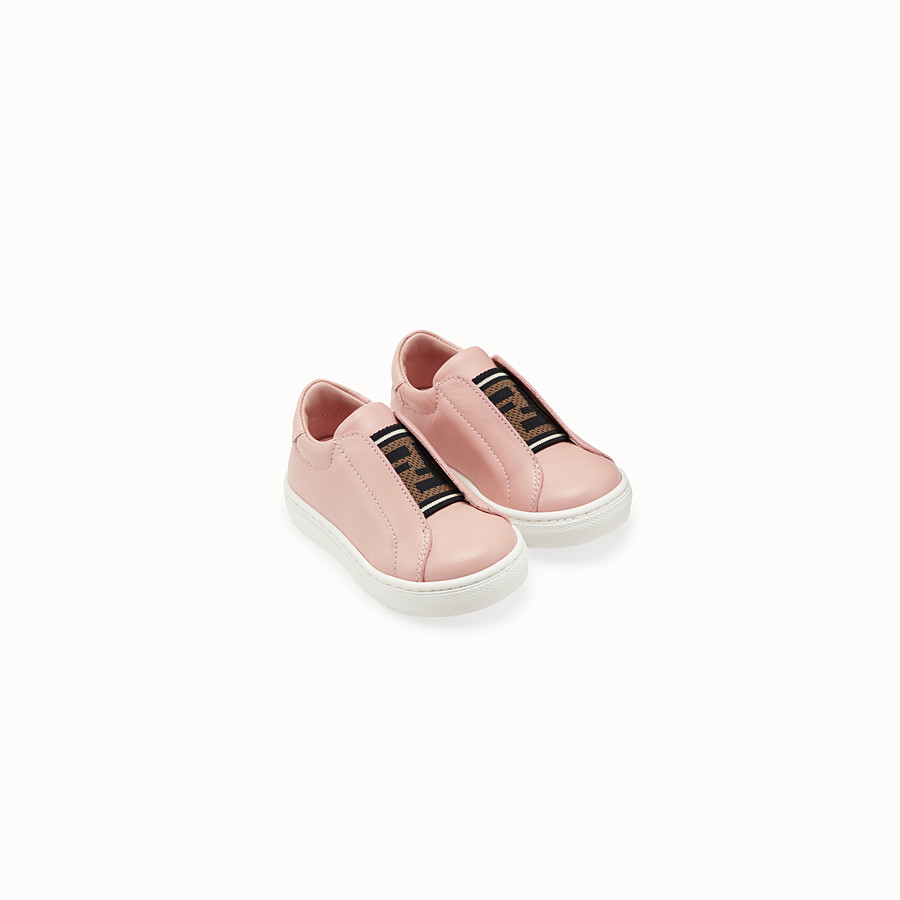 FENDI SNEAKERS - Pink leather first steps sneakers - view 2 detail