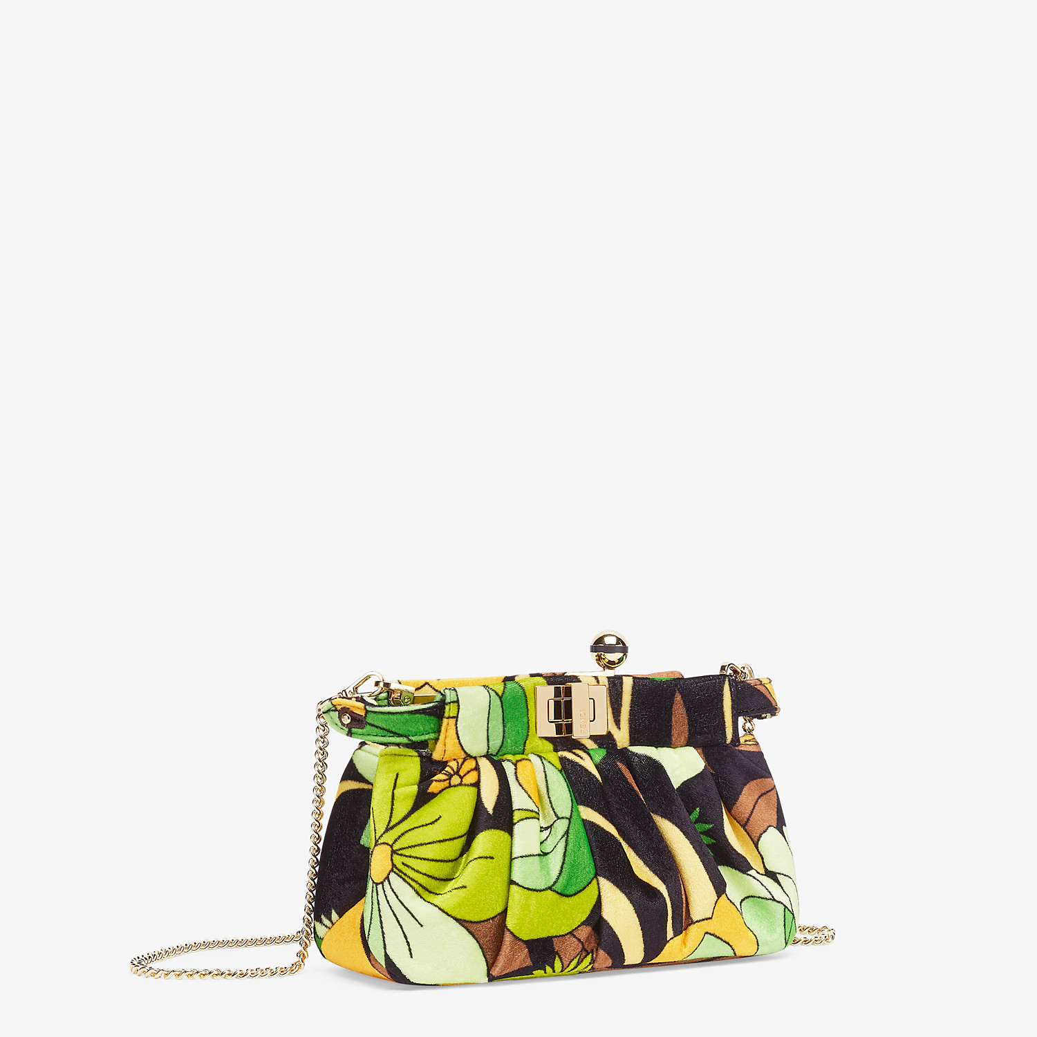 FENDI PEEKABOO CLICK - Small bag in multicolour chenille - view 3 detail