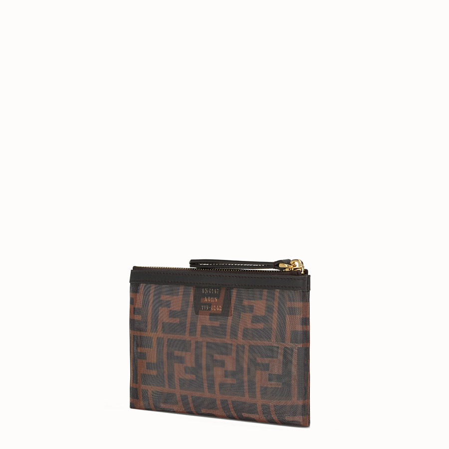 FENDI SMALL FLAT POUCH - Tech mesh brown bag - view 2 detail