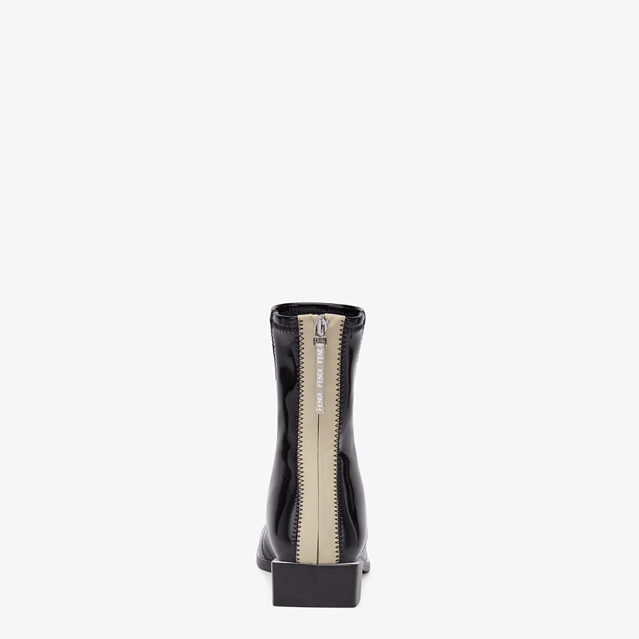 FENDI FFRAME - Glossy black neoprene low ankle boots - view 3 detail