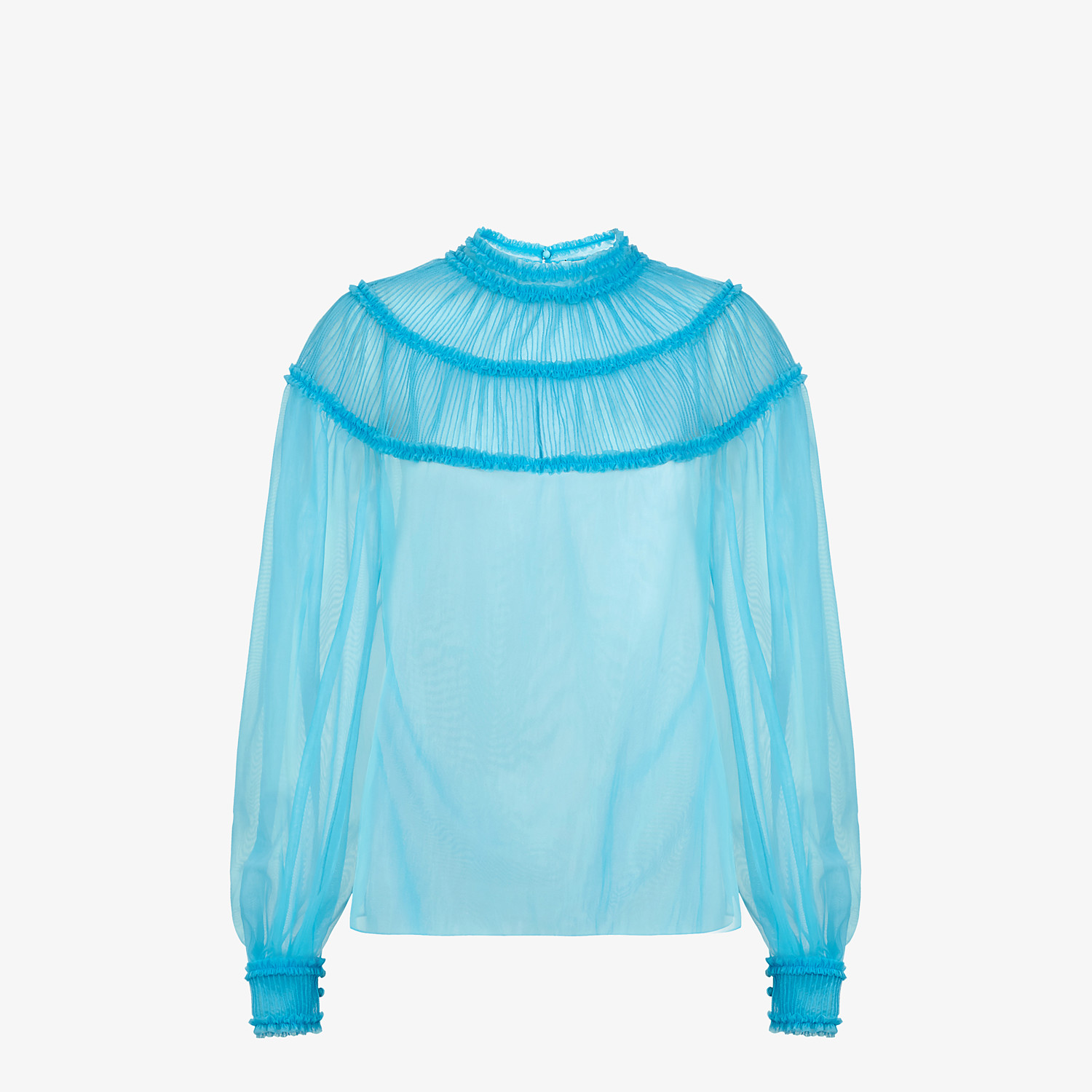 FENDI SHIRT - Light blue nylon blouse - view 1 detail