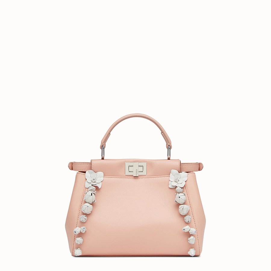 FENDI PEEKABOO - pink nappa leather handbag - view 3 detail