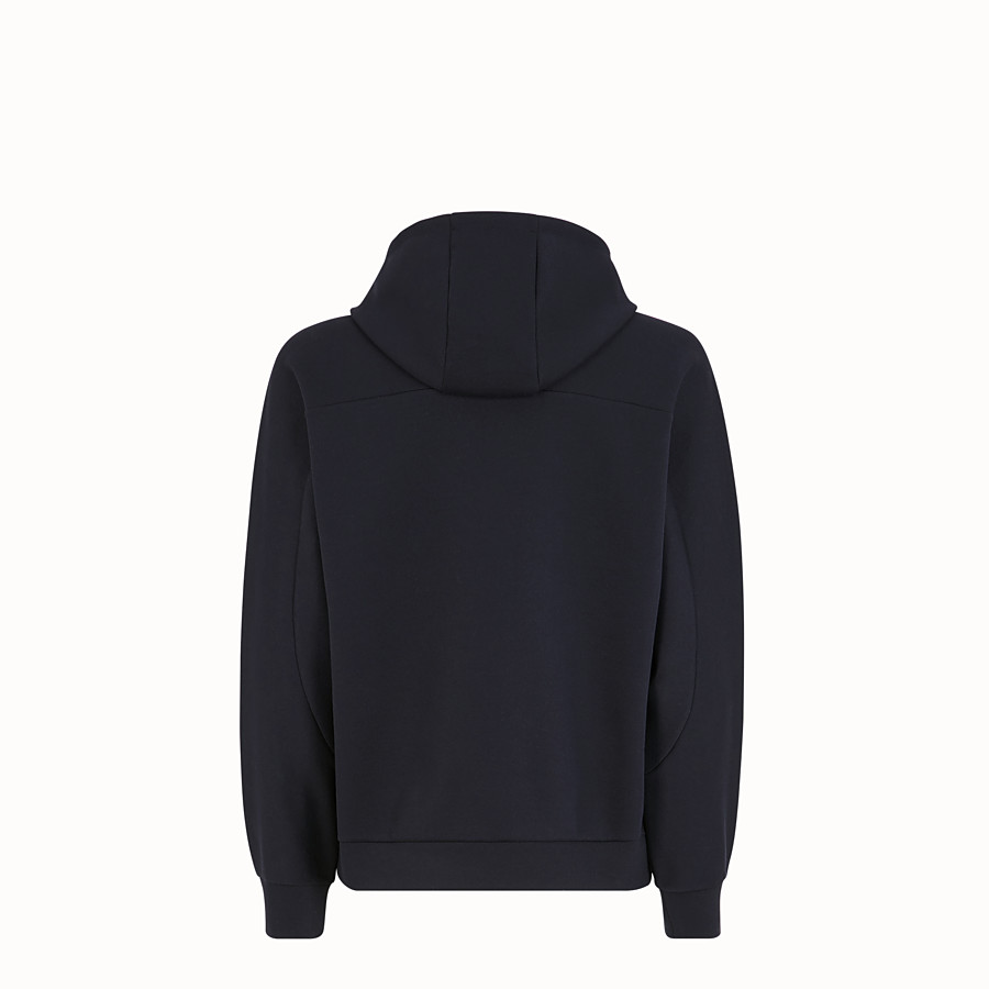 FENDI SWEATSHIRT WITH HOOD - Blue cotton sweatshirt - view 2 detail