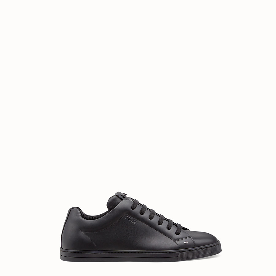 FENDI SNEAKERS - Black leather lace-ups - view 1 detail