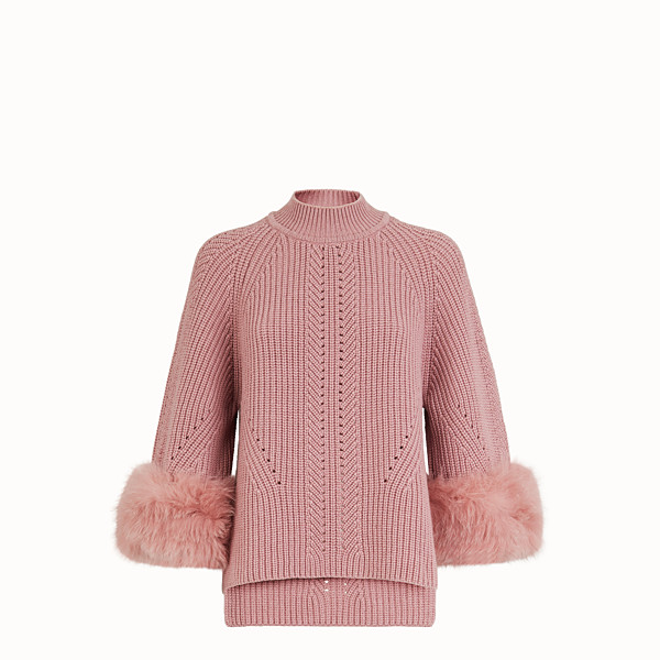 FENDI PULLOVER - Pink cashmere sweater - view 1 small thumbnail
